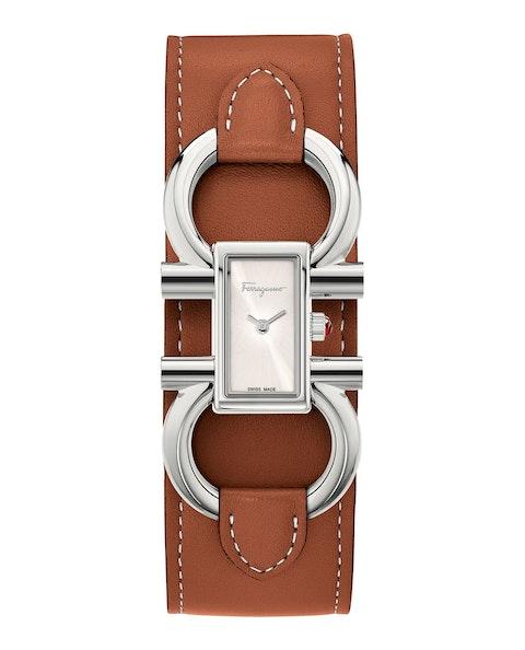 Double Gancini Leather Cuff Watch