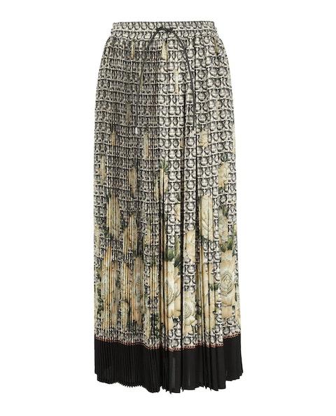 Gancini Print Pleated Maxi Skirt