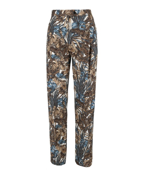 Printed Foliage Wool Pants