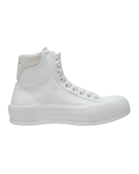 Deck Sneakers in White Canvas