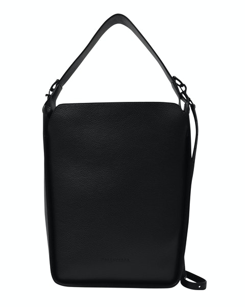 Tote N-S S in Black Grained Leather