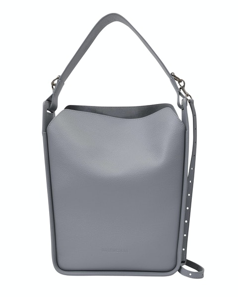 Tote N-S S in Grey Grained Leather