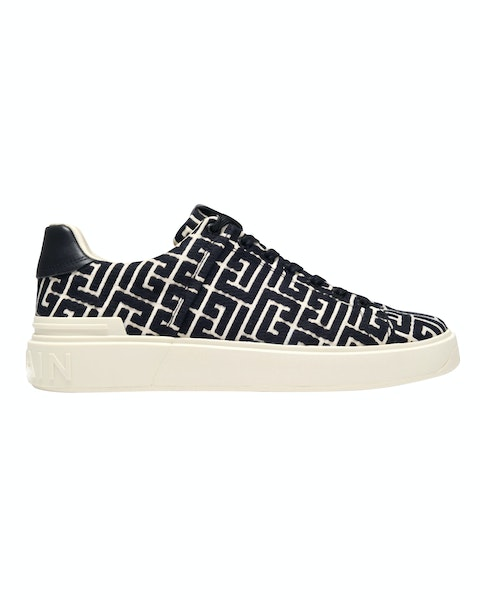B Court Sneakers in Black and Ivory Monogram Canvas