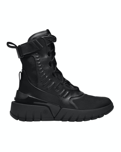 B-Army Sneakers in Black Leather and Canvas