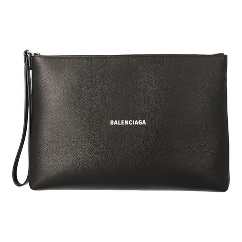 balenciaga Clutch bag in hammered leather with logo black