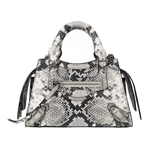 balenciaga Neo Classic Mini Top Handle Bag in python printed calfskin