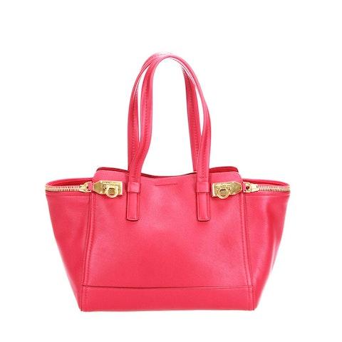 Ferragamo Verve Leather Tote Bag in red calfskin leather