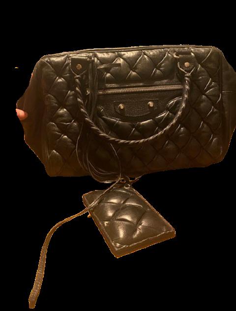 Quilted Black Leather Shoulder Bag
