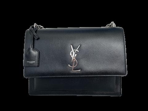Saint Laurent Black Leather Sunset Bag