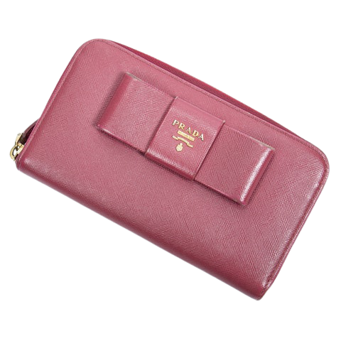 Prada Front Logo Bow Zip Wallet  in Peonia Calf Leather