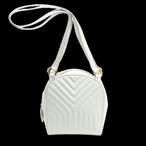 Yves Saint Laurent Zip Shoulder Bag  in White Calf Leather