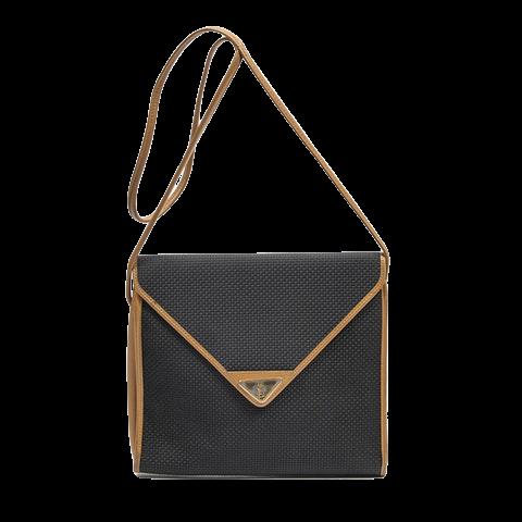 Yves Saint-Laurent Vintage Square Envelope Crossbody  in Tan/Black Coated Canvas