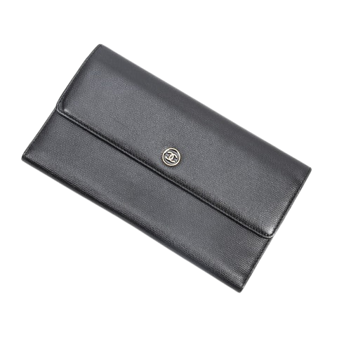 Chanel CC Button Long Bifold Wallet  in Black Calf Leather