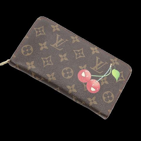 "Louis Vuitton Ltd. Ed. ""Takashi Murakami Cerises"" Porte Monnaie Zip  in Brown Coated Canvas"
