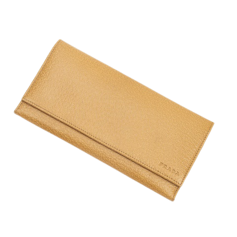 Prada Continental Wallet  in Light Brown Calf Leather