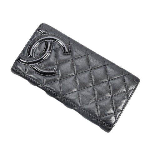 Chanel Cambon Ligne Continental Wallet  in Black Calf Leather