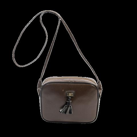 Gucci Vintage Tassel Camera Bag  in Brown/Black Calf Leather