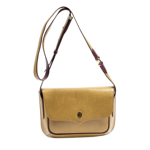 Cartier Must de Cartier Flap Crossbody  in Mustard/Burgundy Calf Leather