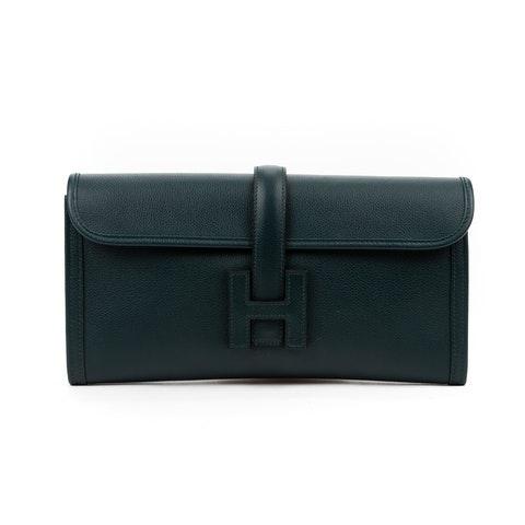 Hermes Jige  in Green Calf leather