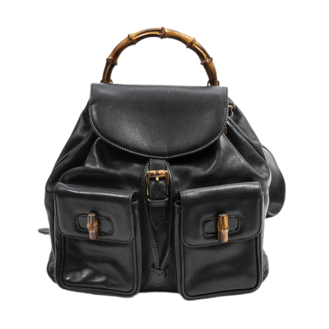 Gucci Large Bamboo Backpack  in Black Calf Leather