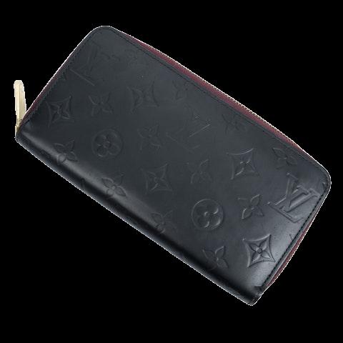 Zippy Wallet  in Black/Magenta Calf Leather