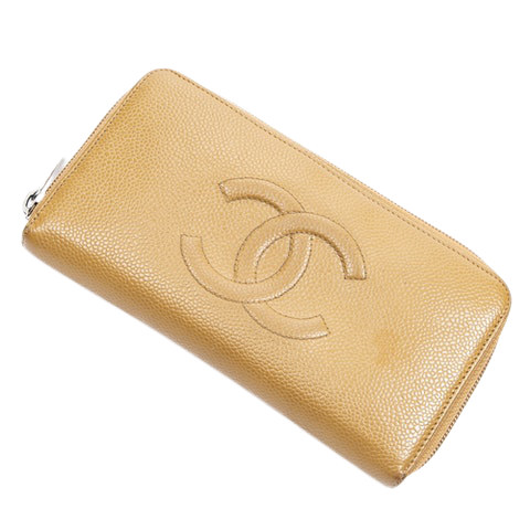 Chanel CC Zip Around Long Wallet  in Tan Calf Leather
