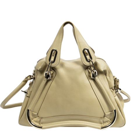 Chloe Medium Paraty Bag  in Beige Calf Leather