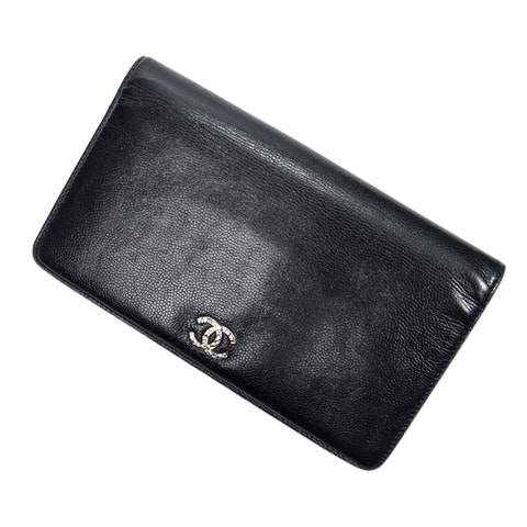 Chanel CC Long Bifold Wallet  in Black Calf Leather