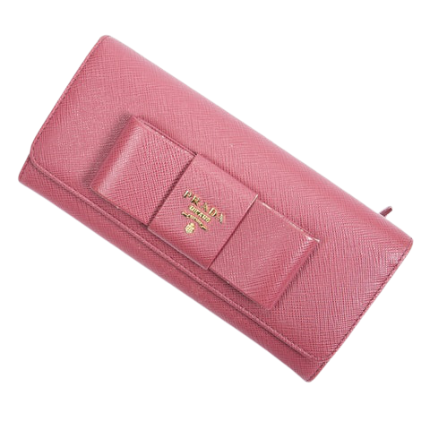 Prada Front Logo Bow Clasp Wallet  in Peonia Calf Leather