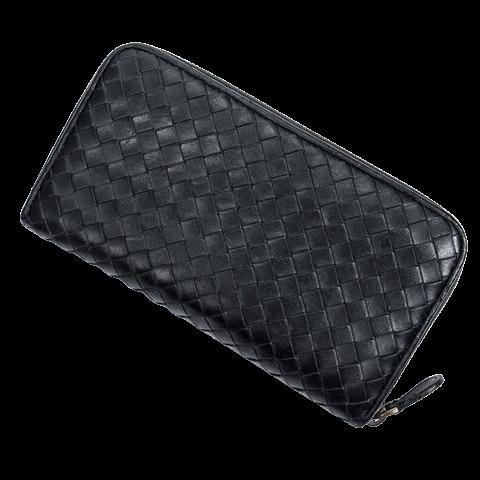 Bottega Veneta Zip Around Wallet  in Black Calf Leather