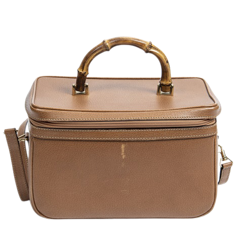 Gucci Bamboo Horizontal Vanity Case  in Tan Calf Leather