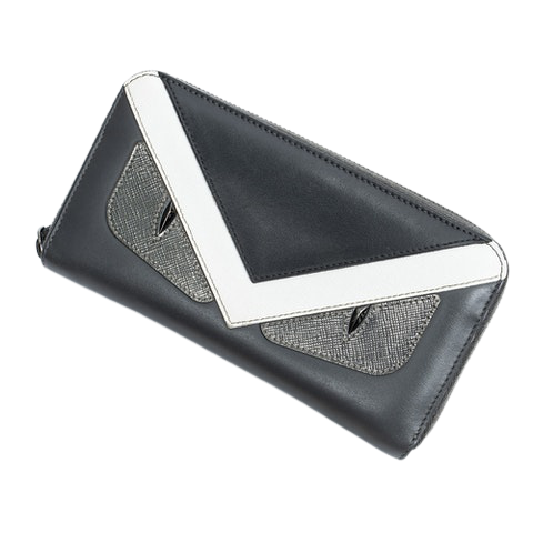 Fendi Tricolor Monster Zip Around Long Wallet  in Black/White/Gray Calf Leather