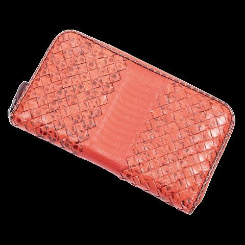 Bottega Veneta Zip Around Wallet  in Orange Calf Leather