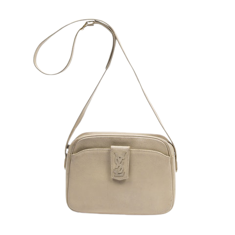 Yves Saint-Laurent Vintage Front Pocket Shoulder Bag  in Beige Calf Leather