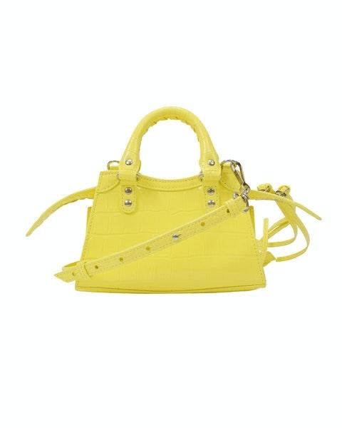 Neo Classic City Nano Bag in Yellow Crocodile Effect Leather