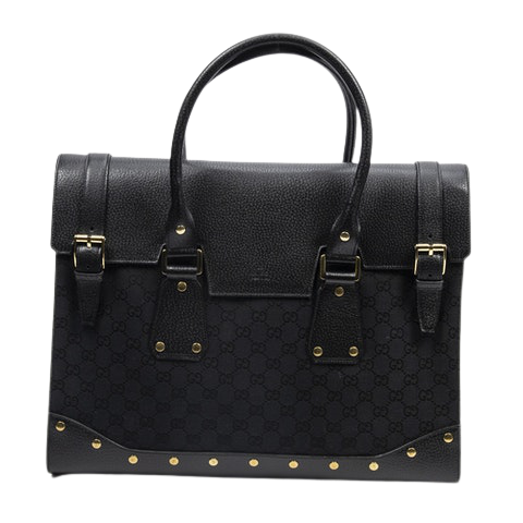 Gucci Double Buckle Briefcase Travel Bag  in Black Canvas