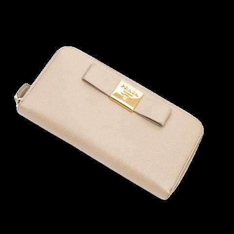 Prada Bow Zip Around Wallet  in Beige Calf Leather